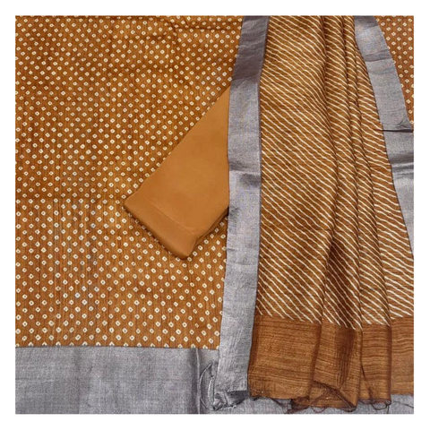 MUSTARD MATKA TUSSAR DRESS MATERIAL