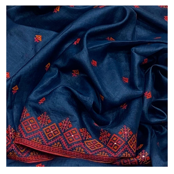 BLUE TUSSAR EMBROIDERED SAREE