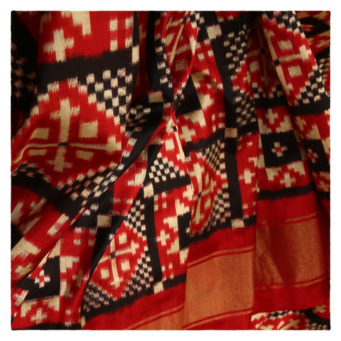 BLACK/RED IKKAT SILK SAREES