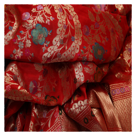 RED BANARSI SILK SAREE