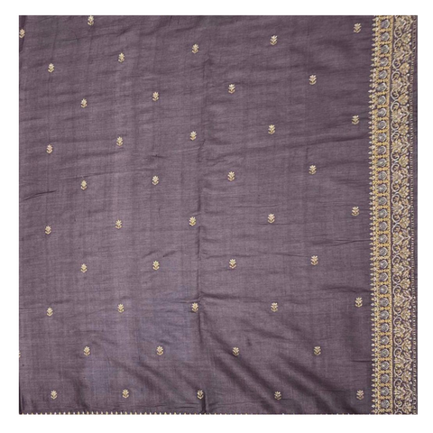 PURPLE TUSSAR DESIGNER SAREE