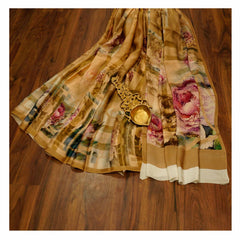 BROWN PRINTED SATIN SAREES,