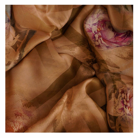 BROWN PRINTED SATIN SAREES