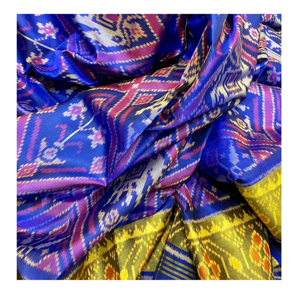 BLUE SILK PATOLA SAREE,