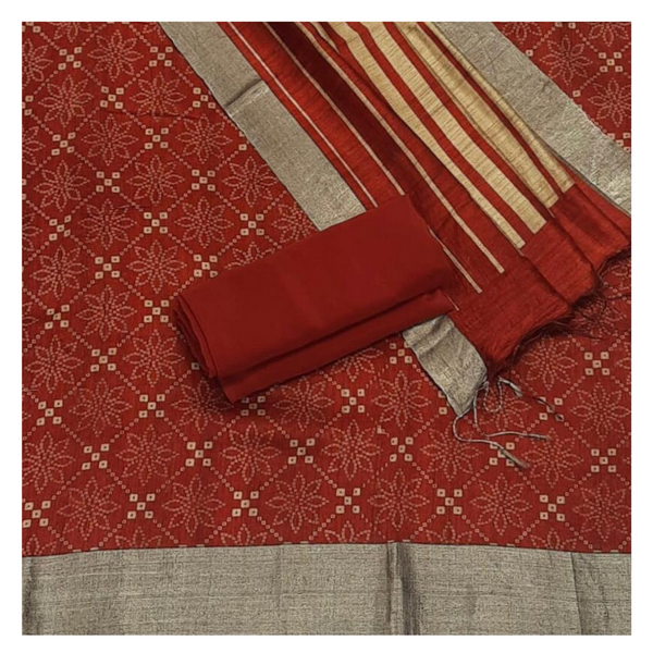 RED MATKA TUSSAR DRESS MATERIAL,