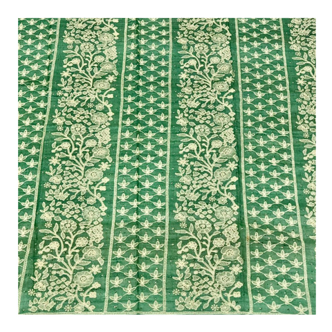 GREEN LUCKNAWI TUSSAR SILK DRESS MATERIAL