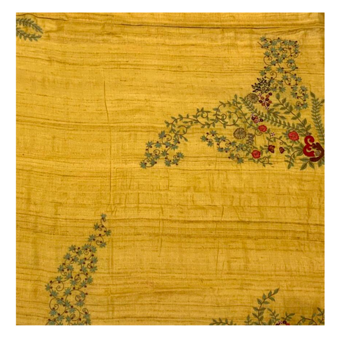 YELLOW EMBROIDERED TUSSAR SAREE
