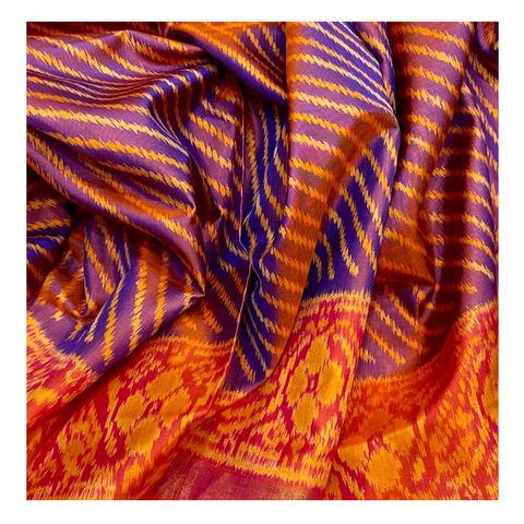 SHORT PURPLE SILK PATOLA SAREE