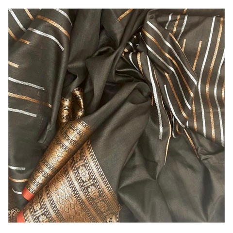 BLACK BANARASI TUSSAR SAREE