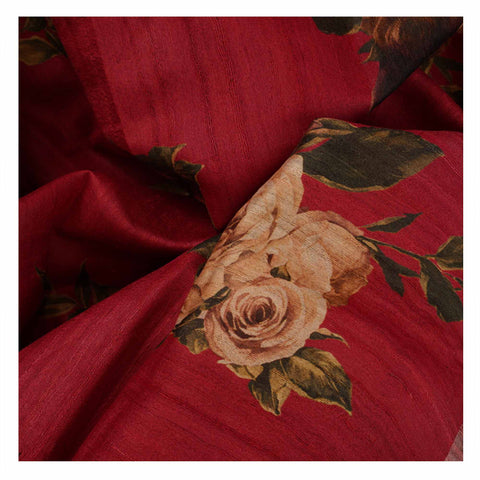 RED PRINTED TUSSAR SAREES