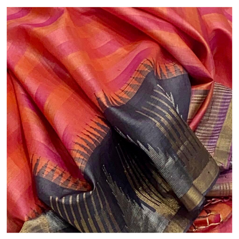 PINK STRIPED TUSSAR SAREE