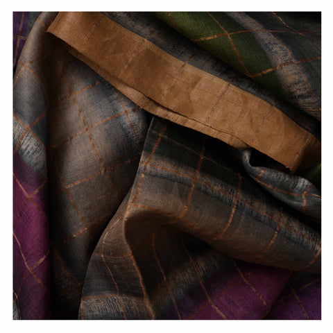 MULTICOLOURED PRINTED TUSSAR SAREES