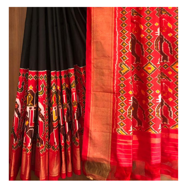 BLACK IKKAT SILK SAREE,