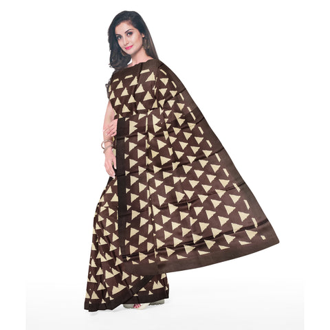 BURGUNDY PRINTED SATIN SAREE