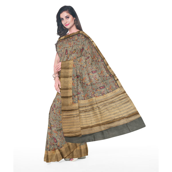 BLUE / GREY PRINTED MOONGA SAREE