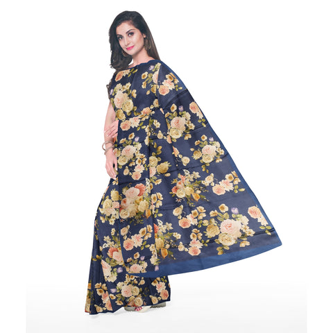 NAVY PRINTED SATIN SAREE