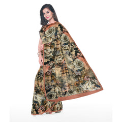 MULTICOLOURED PRINTED SATIN SAREE