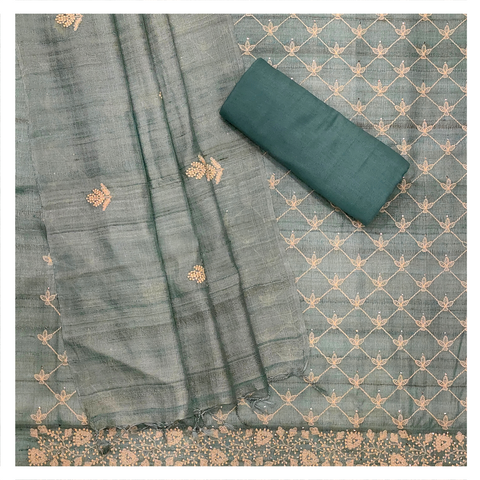 BLUE TUSSAR SILK DRESS MATERIAL