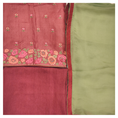 PINK TUSSAR SILK DRESS MATERIAL