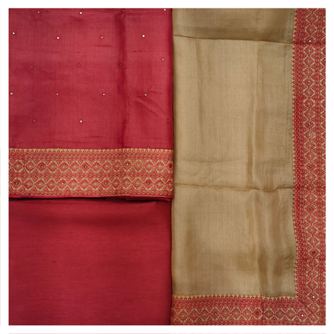 RED TUSSAR SILK DRESS MATERIAL
