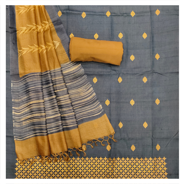 NAVY TUSSAR SILK DRESS MATERIAL,