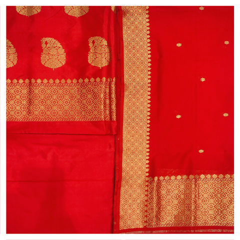 RED SILK DRESS MATERIAL