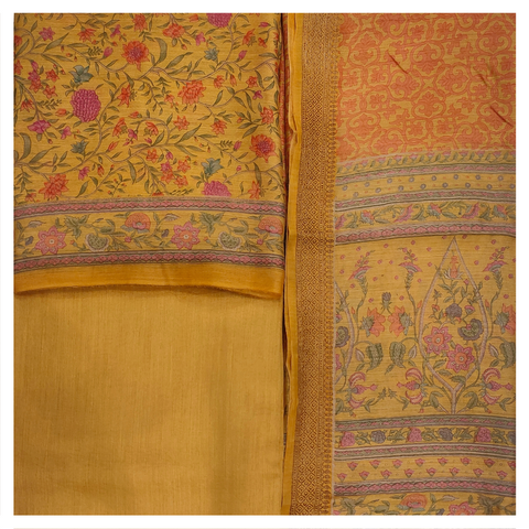 YELLOW MOONGA TUSSAR DRESS MATERIAL