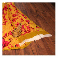 YELLOW PRINTED GEORGETTE SAREES,