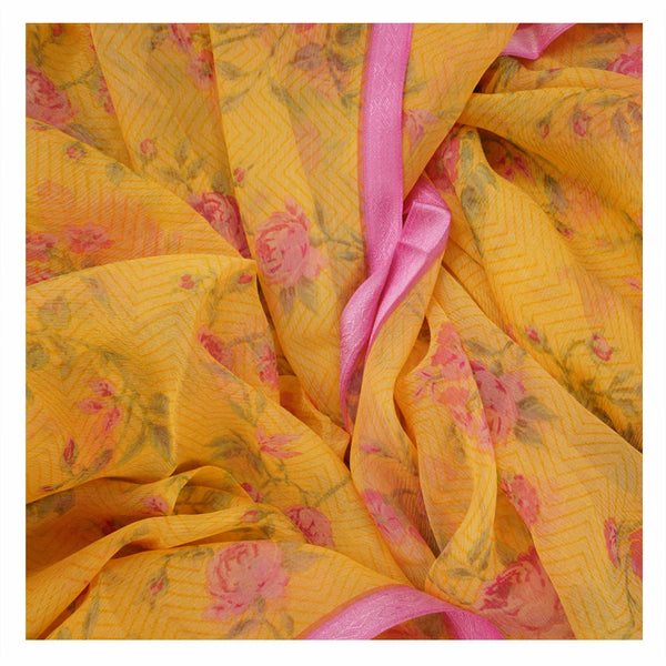 YELLOW PRINTED CHIFFON SAREES,