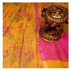 YELLOW PRINTED CHIFFON SAREES