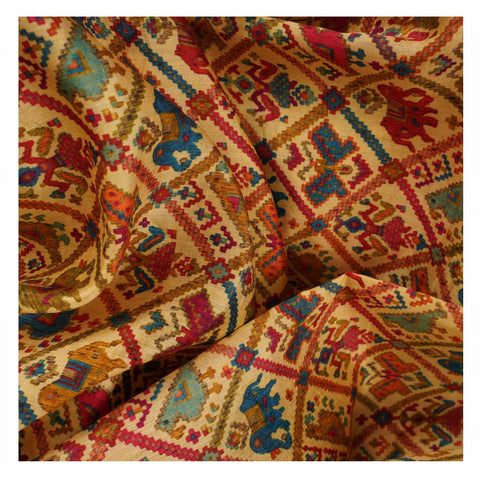 YELLOW PRINTED TUSSAR SAREES