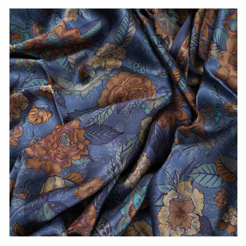 BLUE PRINTED SATIN SAREES