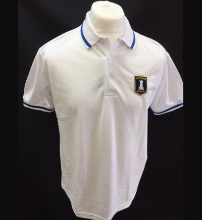 White Polo Shirt - Year Seven - Royal trim (DELTA house) (CS)