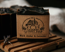Load image into Gallery viewer, black amber and lavender goat milk soap