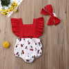 2pcs Newborn Baby Girl Ruffle Cherry Print Bodysuits