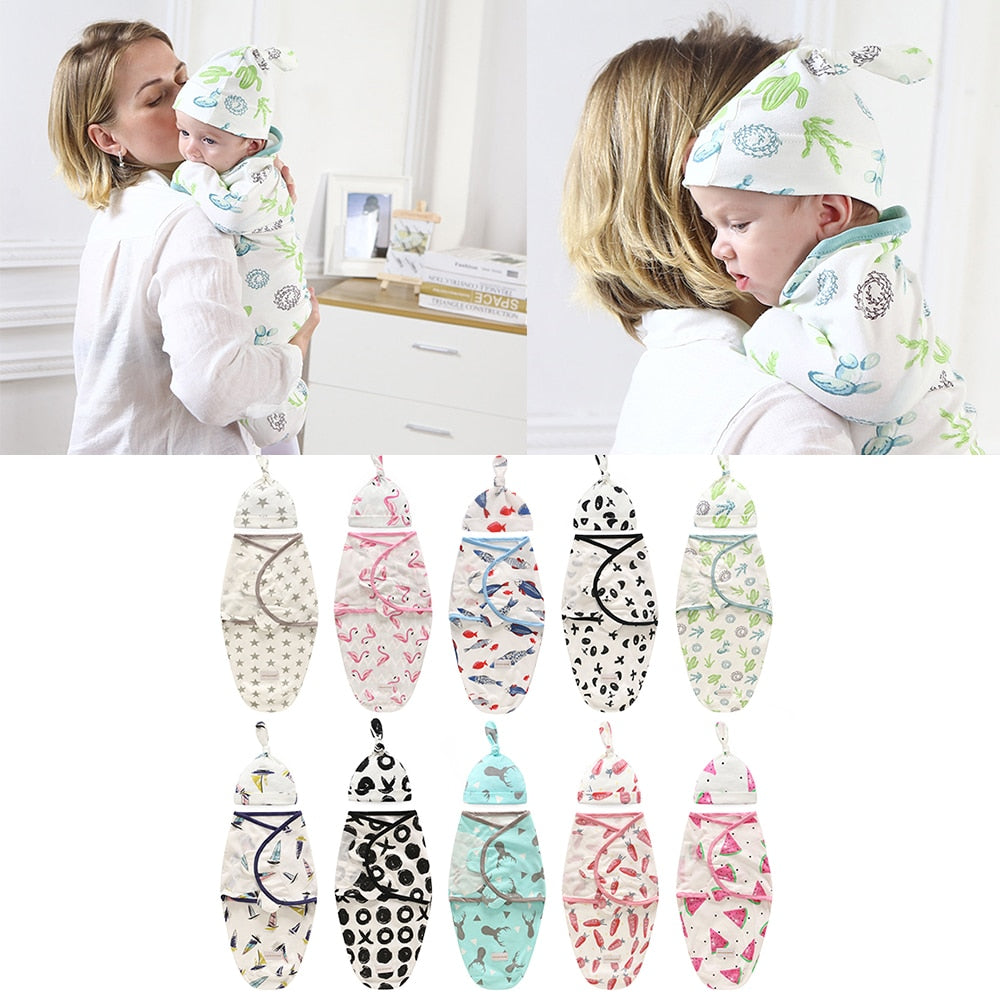 Baby Swaddle Blanket + Cap Newborn