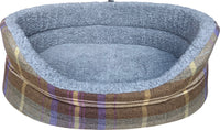 Country Check Oval Dog Bed