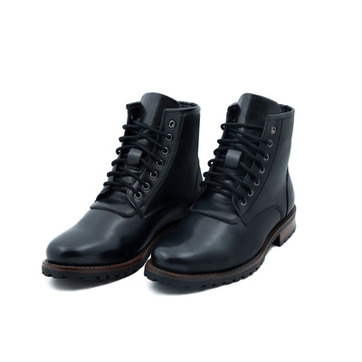 High-Top veganLeather Black Boots
