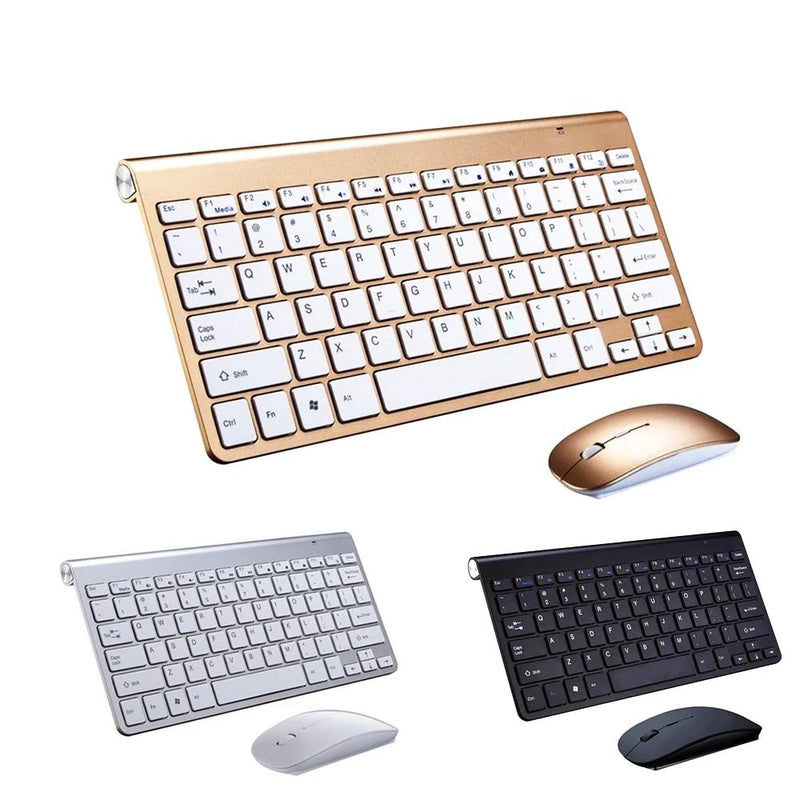 Wireless Keyboard Gold/Silver/Black + Professional Mouse