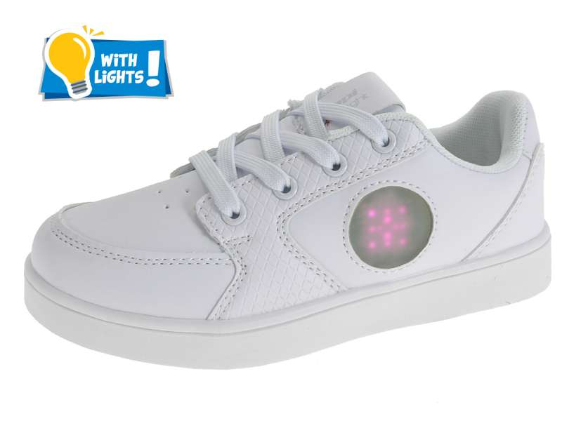 Kinder Sneakers in Weiß mit LED