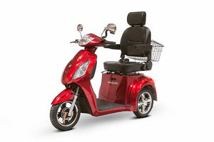 RED 3WHEEL SCOOTER EW-36 Senior 3 Wheel Electric Mobility Scooter With Digital Anti-Theft Alarm-FULLY ASSEMBLED - PureUps