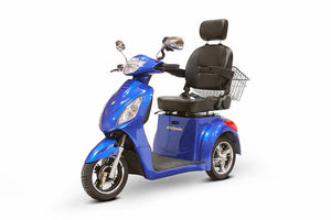 BLUE 3WHEEL SCOOTER EW-36 Senior 3 Wheel Electric Mobility Scooter With Digital Anti-Theft Alarm-FULLY ASSEMBLED - PureUps