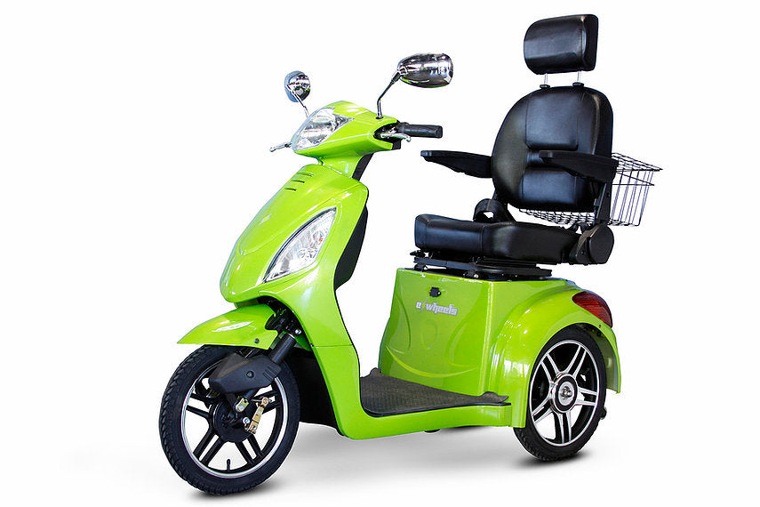 GREEN 3WHEEL SCOOTER EW-36 Senior 3 Wheel Electric Mobility Scooter With Digital Anti-Theft Alarm-FULLY ASSEMBLED - PureUps