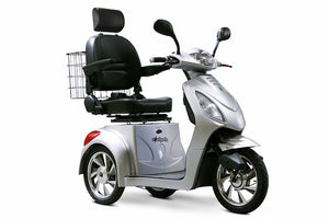 SILVER 3WHEEL SCOOTER EW-36 Senior 3 Wheel Electric Mobility Scooter With Digital Anti-Theft Alarm-FULLY ASSEMBLED - PureUps
