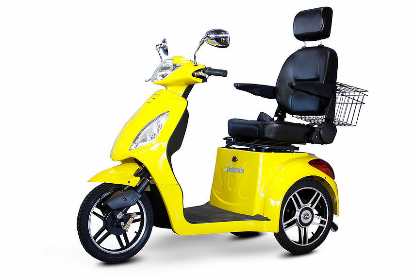 YELLOW 3WHEEL SCOOTER EW-36 Senior 3 Wheel Electric Mobility Scooter With Digital Anti-Theft Alarm-FULLY ASSEMBELD - PureUps