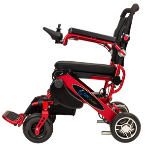 RED ELECTRIC WHEELSCHAIR Geo Cruiser DX Lightweight Foldable Electric Wheelchair - PureUps