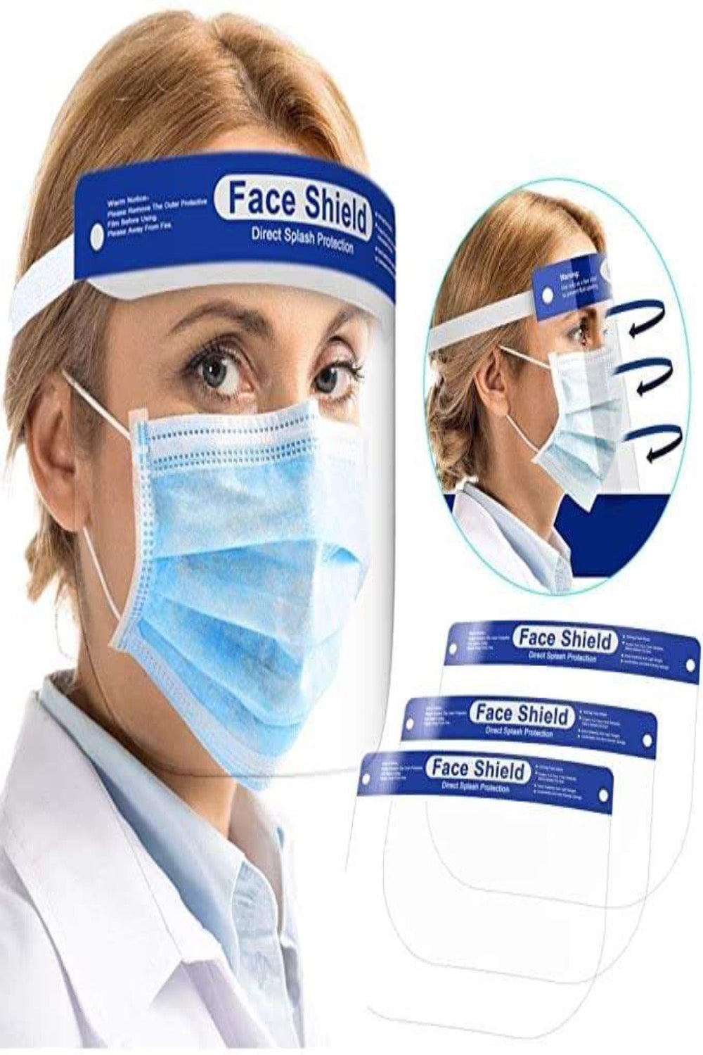 ONE SIZE sneeze guards, productive guards, portable guards Face Shield 5/pack, with Adjustable Elastic Band for All Sizes. - PureUps