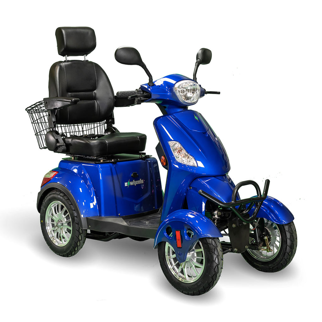 BLUE 4 WHEEL SCOOTER EW-46 Electric 4-Wheel Heavy Duty Mobility Scooter- Fully Adjustable For Adult & Seniors - PureUps