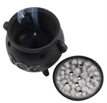 Load image into Gallery viewer, Triple Moon Cauldron Incense Cone Holder