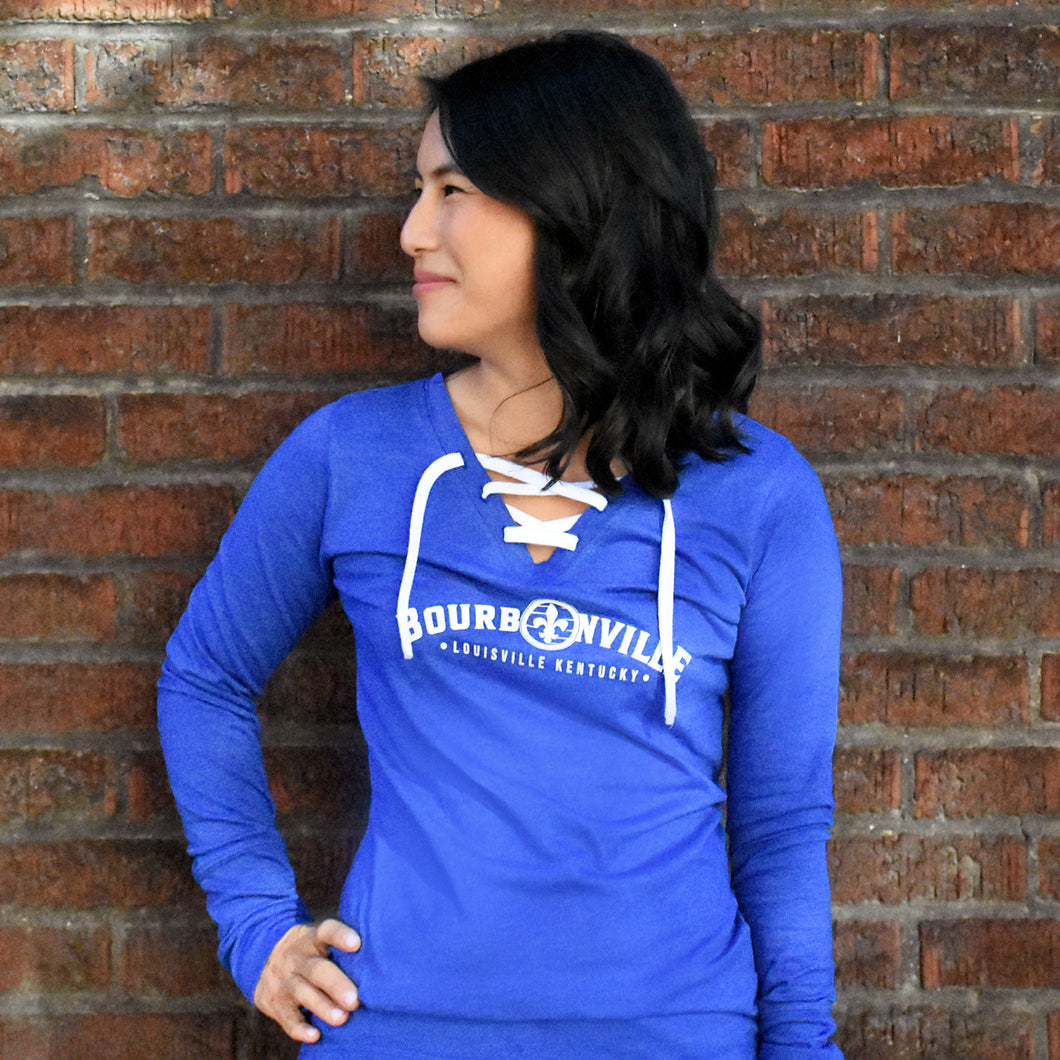 Ladies Lace Up T-Shirt - Royal Blue